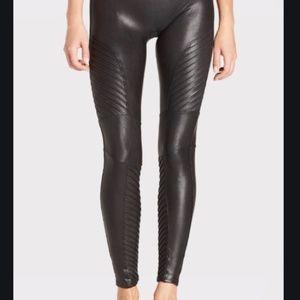 Spanx faux leather moto tummy control leggings S